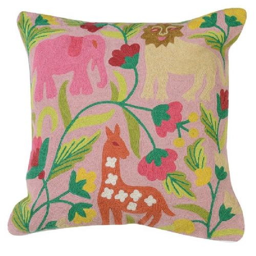 Pink Jungle Crewel Work Cushion Cover